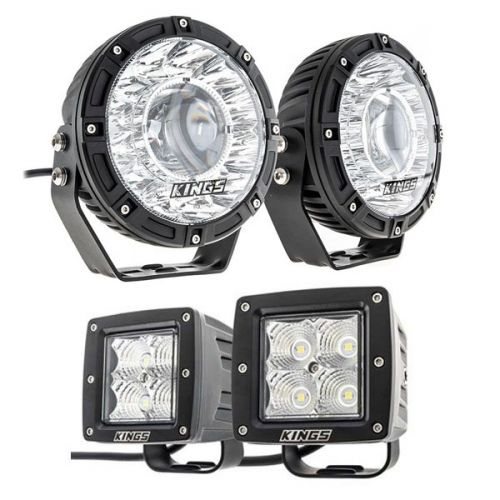 "Kings 7"" Laser Driving Lights (Pair) + 3"" LED Work Light - Pair"