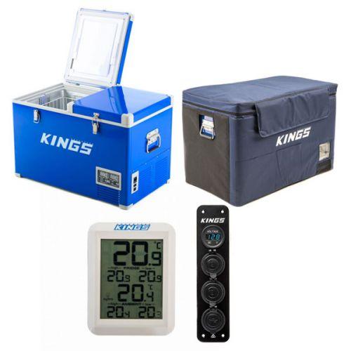 Adventure Kings 70L Camping Fridge/Freezer + 70L Camping Fridge Cover + Wireless Fridge Thermometer + 12V Accessory Panel