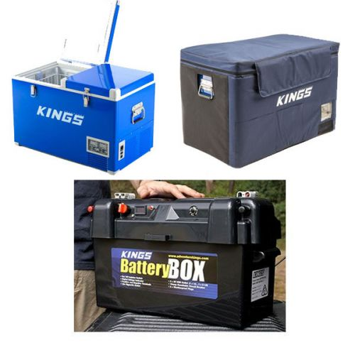 Adventure Kings 70L Camping Fridge/Freezer + Adventure Kings 70L Camping Fridge Cover + Maxi Battery Box