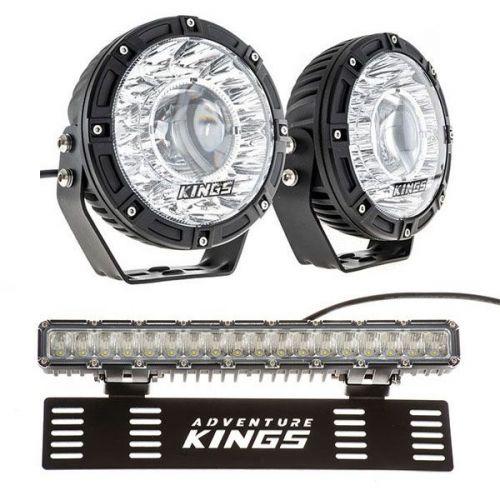 "Kings 7"" Laser Driving Lights (Pair) + 15"" Numberplate LED Light Bar"