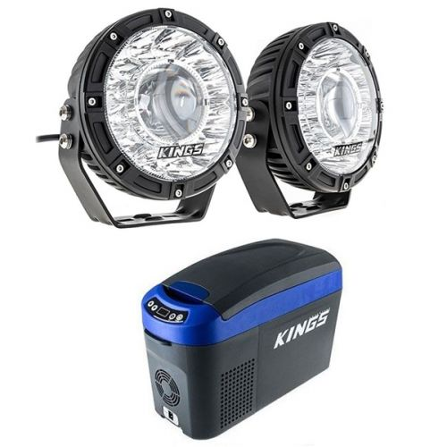 "Kings 7"" Laser Driving Lights (Pair) + 15L Centre Console Fridge/Freezer"