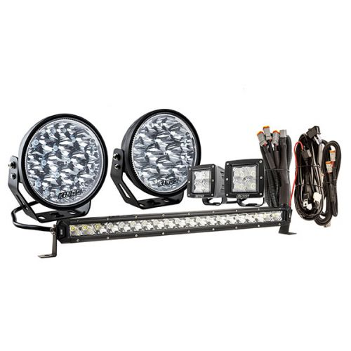 "Kings 7"" Domin8r Xtreme Driving Lights Fitted with OSRAM LEDs (Pair) with Included 20"" Lightbar, 3"" Worklights & Wiring Harnesses 