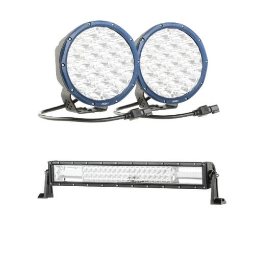 "Kings OSRAM Domin8r X 7"" LED Driving Lights (Pair) + Domin8r 22"" LED Light Bar"