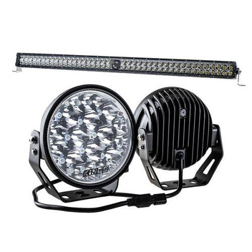 """Kings 7"""" LED Driving Lights (Pair) + 30"""" Laser Light Bar"""