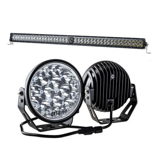 "Kings 7"" LED Driving Lights (Pair) + 40"" Laser Light Bar"