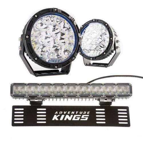 "Adventure Kings 7"" Lethal LED Driving Lights (Pair) + 15"" Numberplate LED Light Bar"