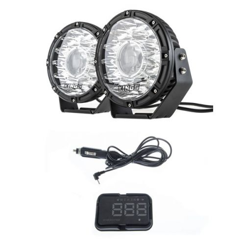 "Kings 8.5"" Laser MKII Driving Lights (pair) + Heads Up Display (HUD) Unit"