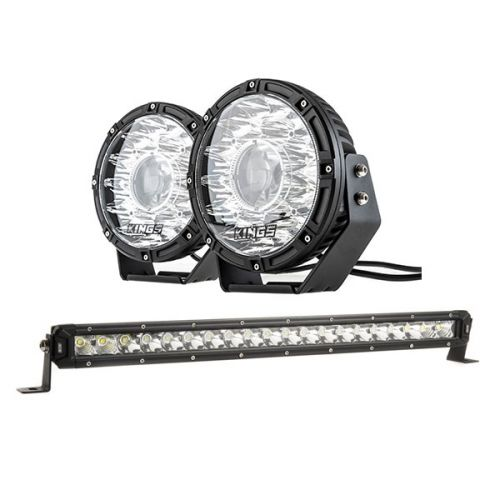 "Kings 8.5"" Laser MKII Driving Lights (pair) + 20"" Slim Line LED Light Bar"