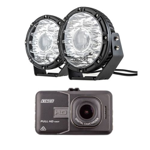 "Kings 8.5"" Laser MKII Driving Lights (pair) + Adventure Kings Dash Camera"