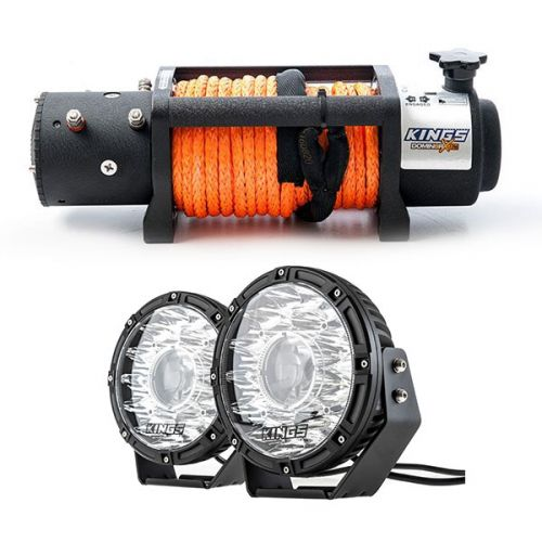 """Domin8r X 12,000lb Winch with rope + Kings 8.5"""" Laser MKII Driving Lights (pair)"""
