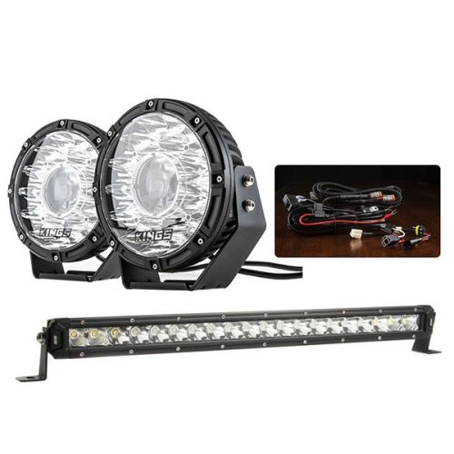 "Adventure Kings 8.5"" Laser Driving Lights + Smart Harness + 20"" LETHAL MKIII Slim Line LED Light Bar"