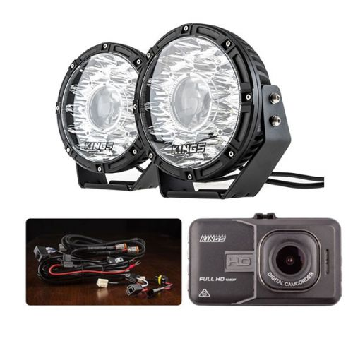 "Kings 8.5"" Laser MKII Driving Lights (pair) + Smart Harness + Adventure Kings Dash Camera"