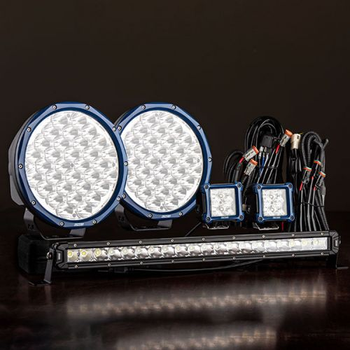 """Pair of 9"""" Domin8r X Driving Lights fitted with OSRAM LEDs, 20"""" Light Bar & 2x 3"""" Work Light Ultimate Pack