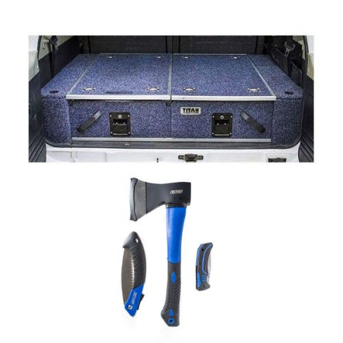 900mm Titan Rear Drawers suitable for smaller wagons + Kings Three Piece Axe, Folding Saw and Knife Kit