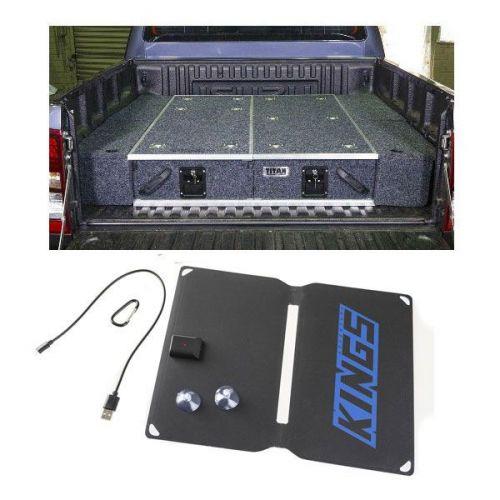 Titan Rear Drawer with Wings suitable for Toyota 120 Series Prado GXL + Adventure Kings 10W Portable Solar Kit
