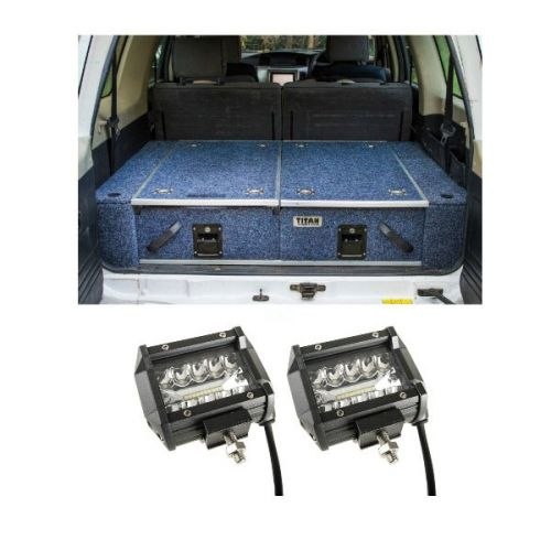 "900mm Titan Rear Drawers suitable for smaller wagons + Adventure Kings 4"" LED Light Bar"
