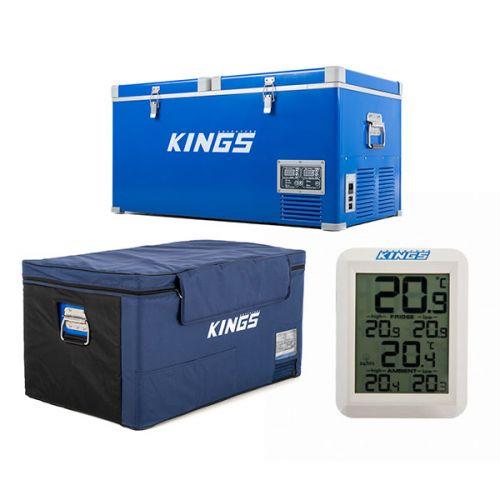 90L Camping Fridge Freezer + Kings 90L Fridge Cover + Wireless Fridge Thermometer