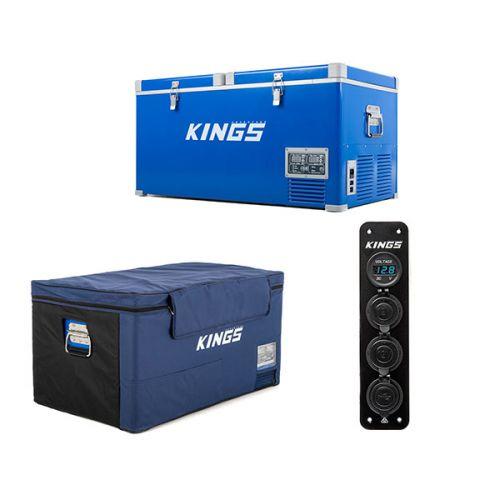 Kings 90L Camping Fridge Freezer + Kings 90L Fridge Cover + 12V Accessory Panel