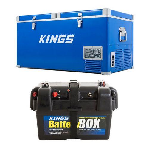 Kings 90L Camping Fridge Freezer | Dual Zone + Battery Box
