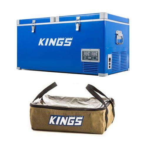 Kings 90L Camping Fridge Freezer + Clear Top Canvas Bag