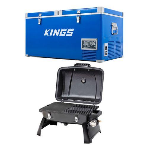 Kings 90L Camping Fridge Freezer + Gasmate Voyager Portable Gas BBQ
