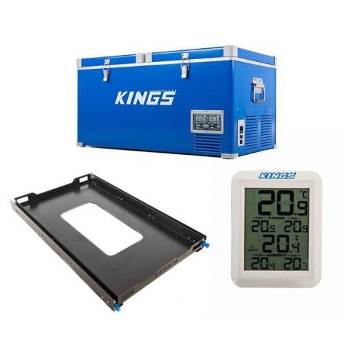Kings 90L Camping Fridge Freezer | Dual Zone + Titan 100L Fridge Slide + Wireless Fridge Thermometer