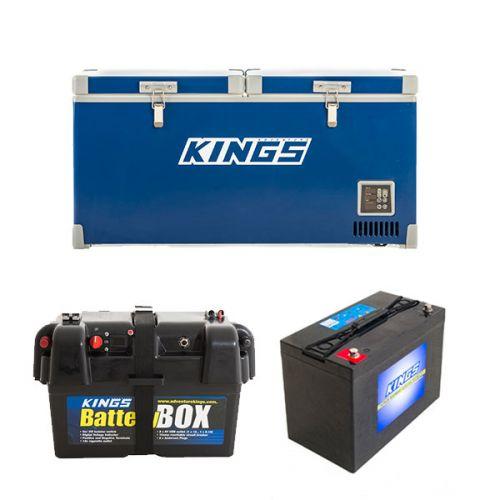 Kings 90L Camping Fridge Freezer | Dual Zone + Adventure Kings AGM Deep Cycle Battery 115AH + Battery Box