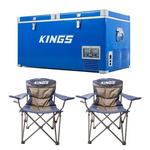 Kings 90L Camping Fridge Freezer + 2x Adventure Kings Throne Camping Chair