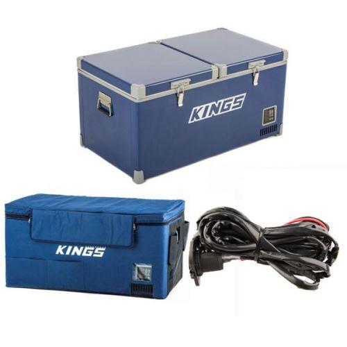 Kings 90L Camping Fridge Freezer + 90L Fridge Cover +12V Fridge Wiring Kit