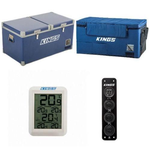 Kings 90L Camping Fridge Freezer | Dual Zone + Kings 90L Fridge Cover + Wireless Fridge Thermometer + 12V Accessory Panel