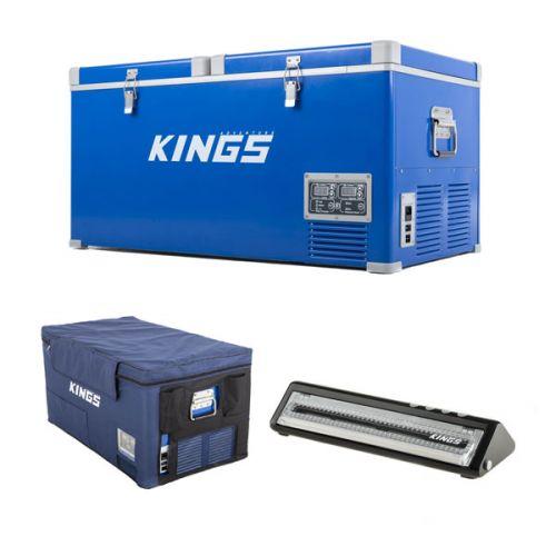 Kings 90L Camping Fridge Freezer + 90L Fridge Cover + Vacuum Sealer