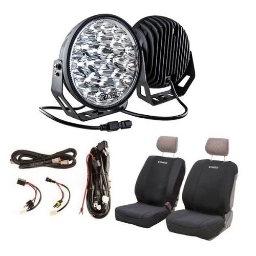 "Kings 9"" LED Driving Lights (Pair) + Smart Harness + Neoprene Seat Covers"