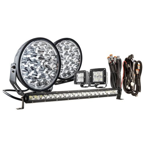 "Kings 9"" Domin8r Xtreme Driving Lights Fitted with OSRAM LEDs (Pair) with Included 20"" Lightbar, 3"" Worklights & Wiring Harnesses 