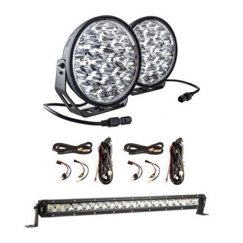 "Adventure Kings Domin8r Xtreme 9"" LED Driving Lights (Pair) + 2x Plug N Play Smart Wiring Harness Kit + 20"" LETHAL MKIII Slim Line LED Light Bar"