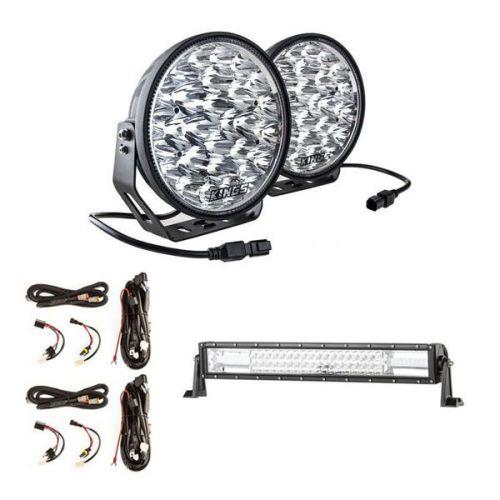 "Adventure Kings Domin8r Xtreme 9"" LED Driving Lights (Pair)  + 2x Plug N Play Smart Wiring Harness Kit + Domin8r 22"" LED Light Bar"