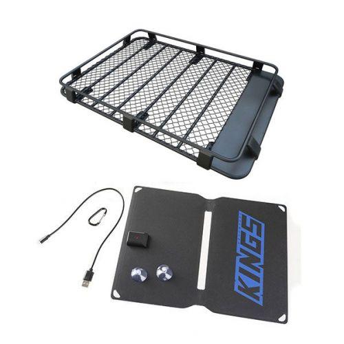 Steel Roof Rack 3/4 Length + Adventure Kings 10W Portable Solar Kit
