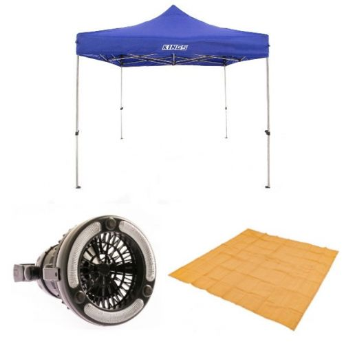 Adventure Kings - Gazebo 3m x 3m + Mesh Flooring 3m x 3m + Adventure Kings 2in1 LED Light & Fan