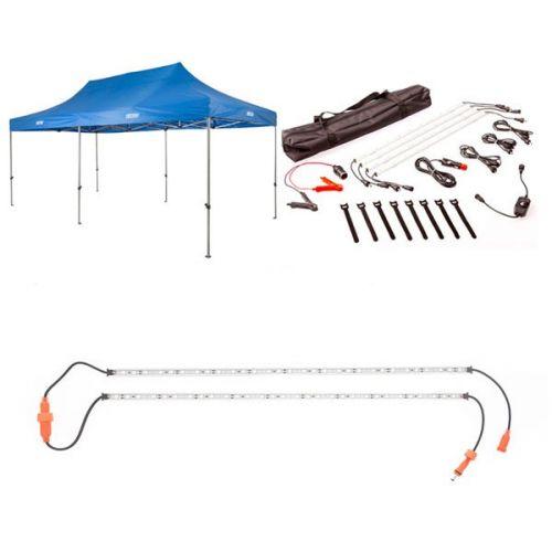 Adventure Kings - Gazebo 6m x 3m + Illuminator 4 Bar Camp Light Kit + Orange LED Camp Light Extension Kit