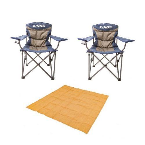Adventure Kings - Mesh Flooring 3m x 3m + 2x Adventure Kings Throne Camping Chair