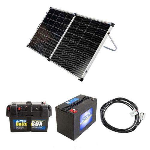 Kings Premium 160w Solar Panel with MPPT Regulator + Battery Box + AGM Deep Cycle Battery 115AH + 10m Lead For Solar Panel Extension