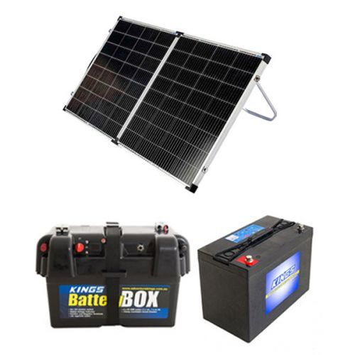 Kings Premium 160w Solar Panel with MPPT Regulator + Battery Box + AGM Deep Cycle Battery 115AH