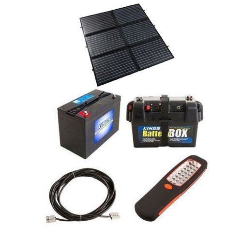 Adventure Kings 200W Portable Solar Blanket + Adventure Kings Battery Box + AGM Deep Cycle Battery 115AH + 10m Lead For Solar Panel Extension + Illuminator 24 LED Work Light