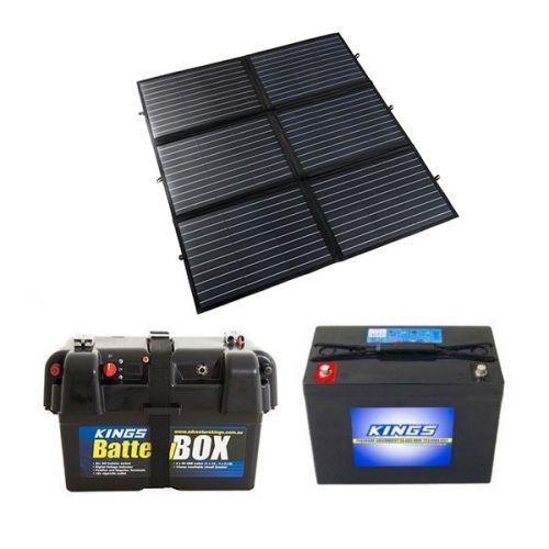 Adventure Kings 200W Portable Solar Blanket + Adventure Kings Battery Box + AGM Deep Cycle Battery 98AH