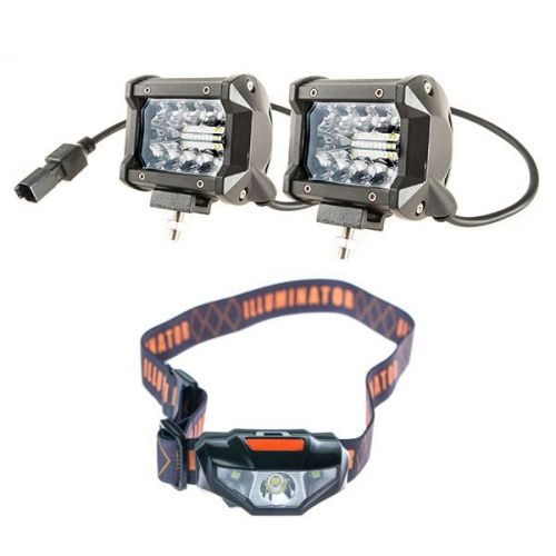 "Adventure Kings 4"" LED Light Bar + Illuminator LED Head Torch"