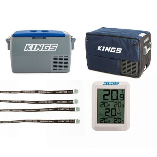 Adventure Kings 45L Camping Fridge + 45L Camping Fridge Cover + Wireless Fridge Thermometer + Fridge Tie Down Straps (4 pack)