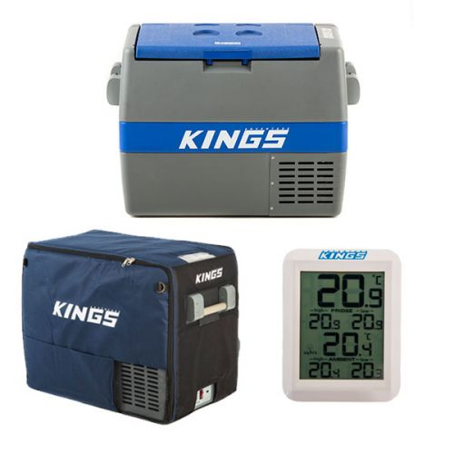 Adventure Kings 60L Camping Fridge/Freezer + 60L Camping Fridge Cover + Wireless Fridge Thermometer
