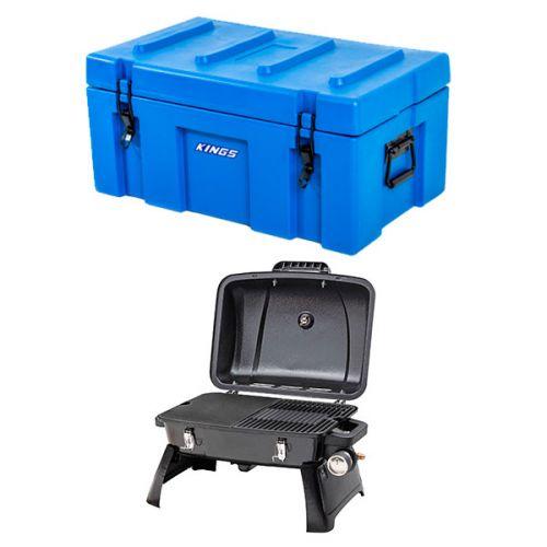 Adventure Kings 78L Tough Tool Box + Gasmate Voyager Portable BBQ