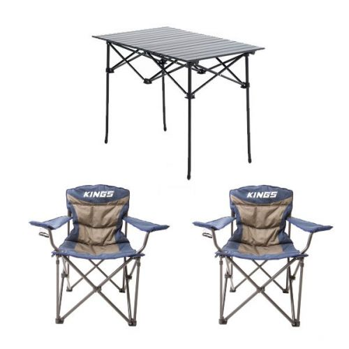 Adventure Kings Aluminium Roll-Up Camping Table + 2x Adventure Kings Throne Camping Chair