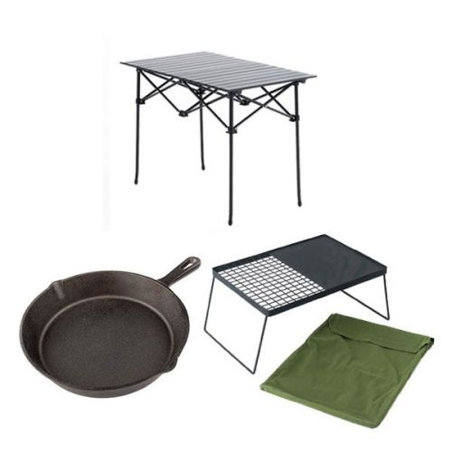 Adventure Kings Aluminium Roll-Up Camping Table + Camp Fire BBQ Plate + Cast Iron Skillet Pan