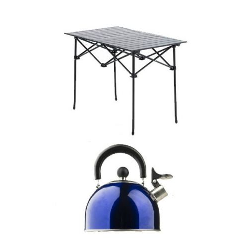 Adventure Kings Aluminium Roll-Up Camping Table + Camping Kettle